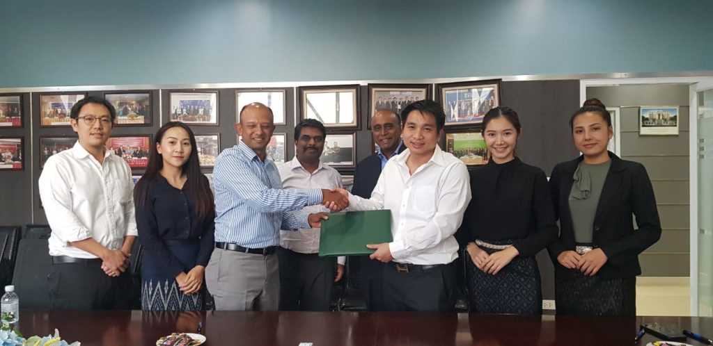 The signing ceremony of the cooperation agreement between Asia Investment, Development and Construction Sole Co., Ltd. and CSS Champa Lao Co., Ltd. for Coffee Plantation in Pakxong District, Champasak Province on October 17, 2019.